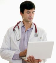 Doctor Reading Laptop Info